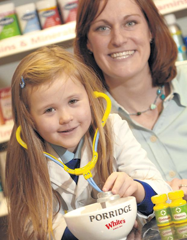 Dr Izzy Simpson (5) recommends Bernadette Speer of White's a bowl of porridge oats as a way of boosting immune systems