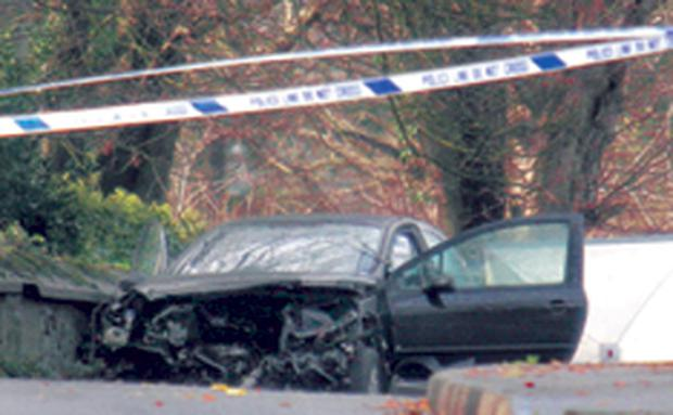The Citroen which was involved in a double fatal accident on the Frosses Road on Saturday