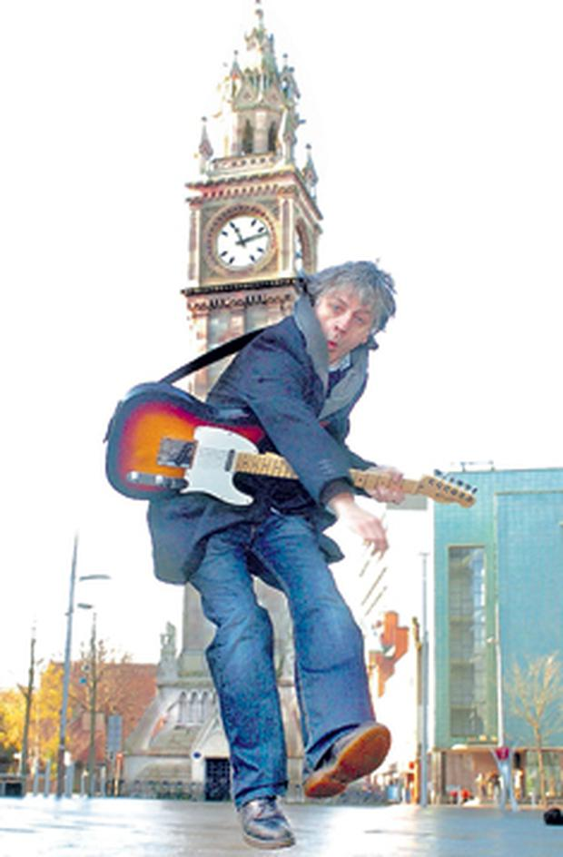 Rocker bap Kennedy getting in some practice at the Albert Clock in Belfast