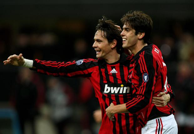 Goalscorer Filippo Inzaghi of Milan celebrates with Kaka during the UEFA Champions League Group D match between AC Milan and Celtic at the San Siro