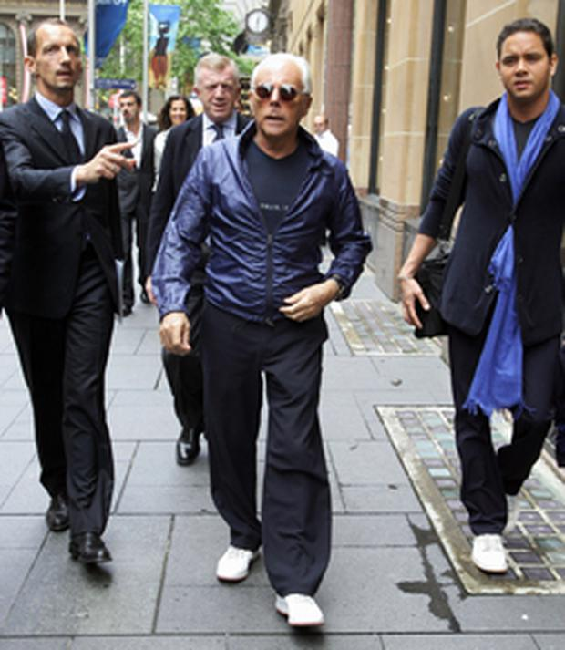 Giorgio Armani arrives at the Armani store in Martin Place, Sydney