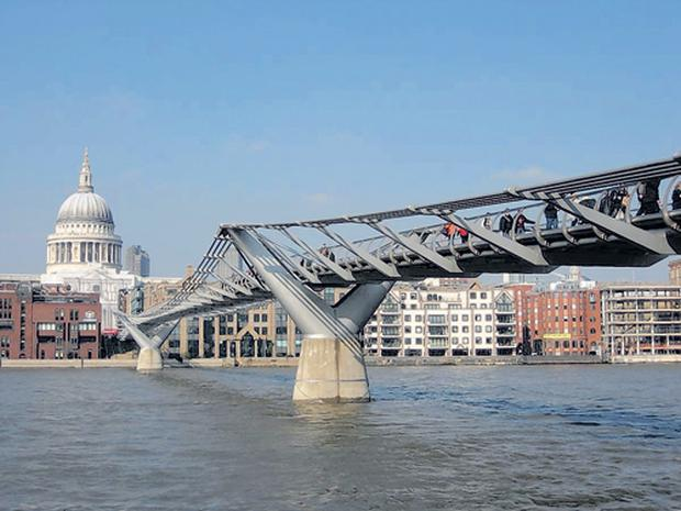The Northbank restaurant offers a fabulous view of the Millenium Bridge in London.