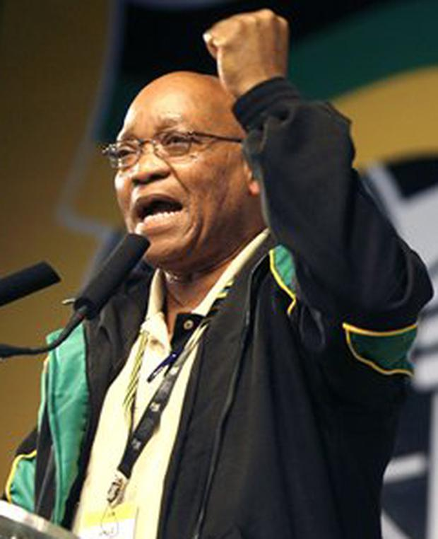 Newly elected ANC President Jacob Zuma addresses delegates during the closing session of the African National Congress conference in Polokwane, South Africa