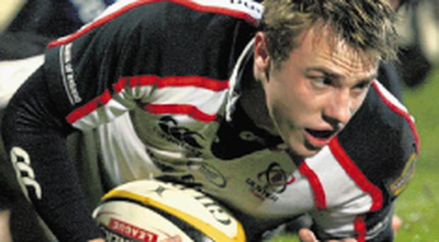 Tommy Bowe touches down for Ulster at Ravenhill