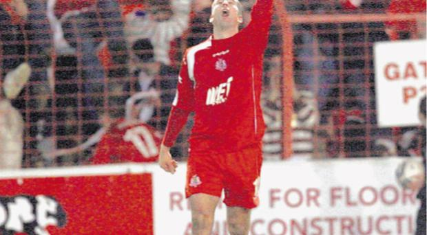 Allan Smart after scoring against Glentoran at The Oval