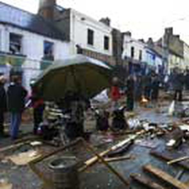"<!-- Enter image here --> <!-- Enter caption here --> <font color=""#999999""> </Font>Watergate Street in Navan yesterday where a film on the Omagh bombing is being shot. The film is financed by the Irish Film Board, RTE and Channel 4"