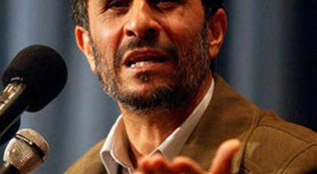 Iranian President Mahmoud Ahmadinejad delivers a speech during a ceremony marking