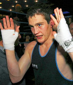 Shane McGuigan celebrates his victory last night