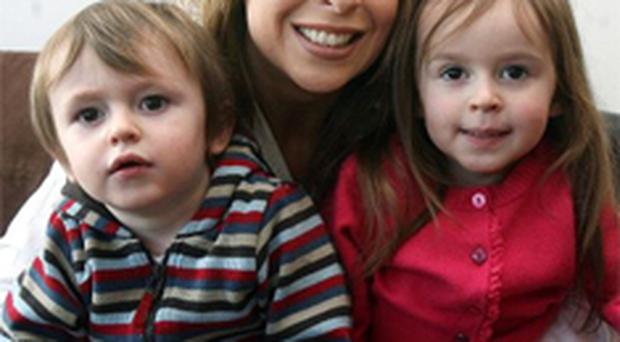 Alison Fleming with her children Annie (4) and Finn (3)