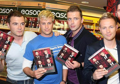 Westlife's Shane, Mark, Kian and Nicky with their new book