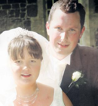 A picture of 30-year-old Christopher Buick and his new bride taken on their wedding day - just 10 days before he died on a freak accident on honeymoon