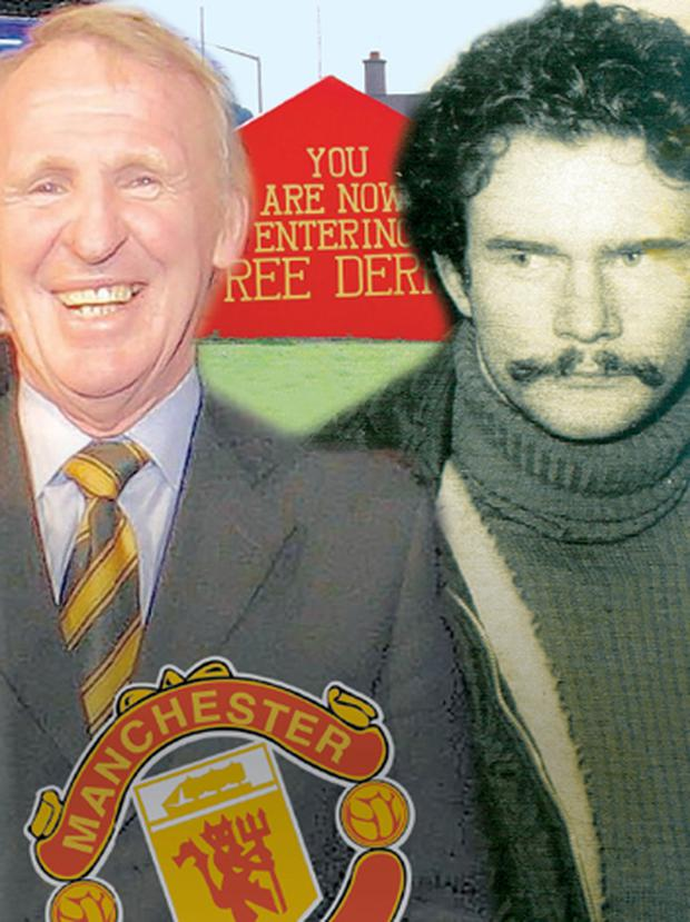 Manchester United legend Paddy Crerand (left) met Martin McGuinness and a delegation of hardline republicans at a house in the Bogside in 1975
