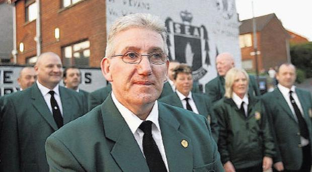 Defiant: Tommy Kirkham at the event in Glengormley