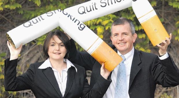 Campaign: Gerry McElwee (right) of the Ulster Cancer Foundation