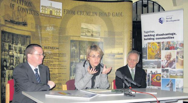 Social Development Minister Margaret Ritchie with DSD senior official Declan McGeown (left) and chairman of the advisory panel Roy Adams (right)