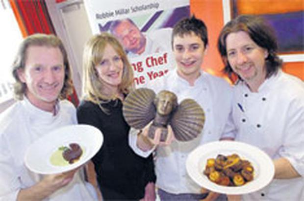 2007 Robbie Millar Scholar Chris McClurg (second from right) with Paul Rankin, Shirley Millar and Michael Deane