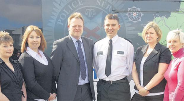 Representatives of the PSNI at the launch of the local Police Public Protection Unit