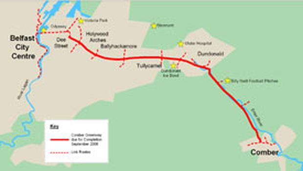 A map of the Comber Greenway