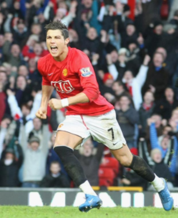Cristiano Ronaldo scored two goals in Manchester United's fourth-round victory over Tottenham Hotspur at Old Trafford yesterday