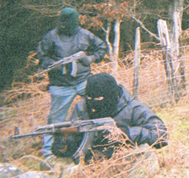 Members of the Real IRA at a 'training camp' on the border