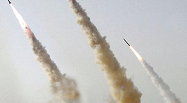 This digitally altered image of Iranian missiles being test fired on Wednesday, was released by Sepah News, the public relations arm of the Revolutionary Guards