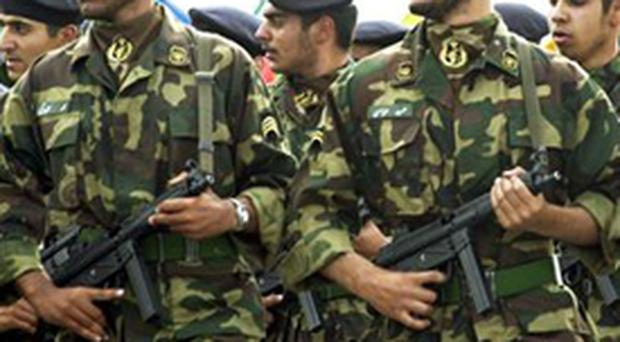 Soldiers of Iran's elite Revolutionary Guards