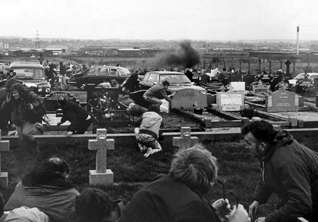 Belfast's Milltown Cemetery comes under attack by UDA man Michael Stone, during the funerals of three Provisional IRA members. Picture by Bobby Ingram