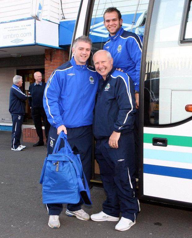 Linfield's William Murphy, Brian McLaughlin and Alan Mannus get on the coach for the start of their journey to Croatia for their UEFA Champions League Qualifier against Dinamo Zagreb on Wednesday evening