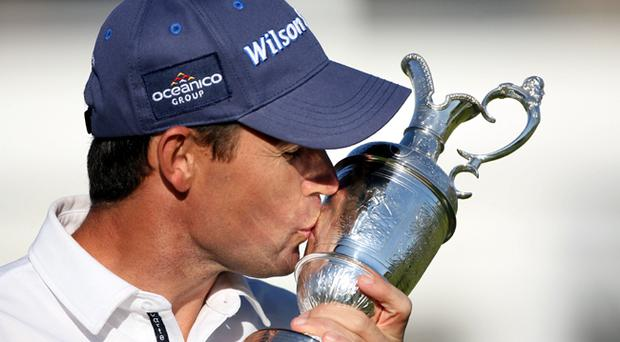 Padraig Harrington celebrates with the Claret Jug after winning by 4 strokes during the final round of the 137th Open Championship on July 20, 2008 at Royal Birkdale Golf Club, Southport, England