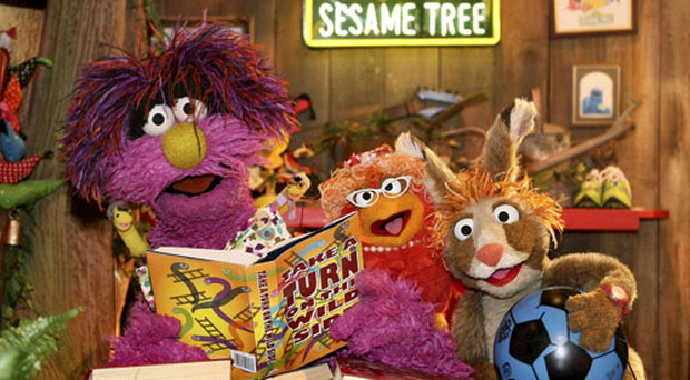 Sesame Tree Muppets Potto, Claribelle and Hilda at home in the Sesame Tree, Northern Ireland's version of Sesame Street.