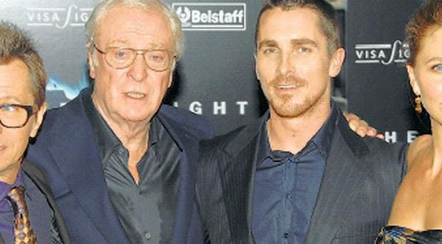 Gary Oldman, Michael Caine, Christian Bale and Maggie Gyllenhaal at the world premiere of The Dark Knight held in London