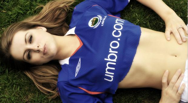 Lucy Evangelista in the new Linfield Football strip