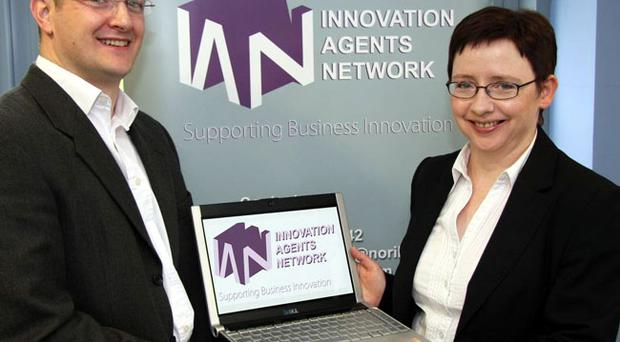 Barry McManus, managing director of EQE, with business consultant, Rita McCaughey of NORIBIC, the managing agent of the Innovation Agents Network