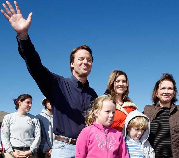 Former Sen. John Edwards (D-NC) waves to the crowd with his family, daughters Cate (C) and Emma Claire (2nd-L), son Jack and wife Elizabeth after announcing that is he withdrawing from the Presidential Race on January 30, 2008 in New Orleans
