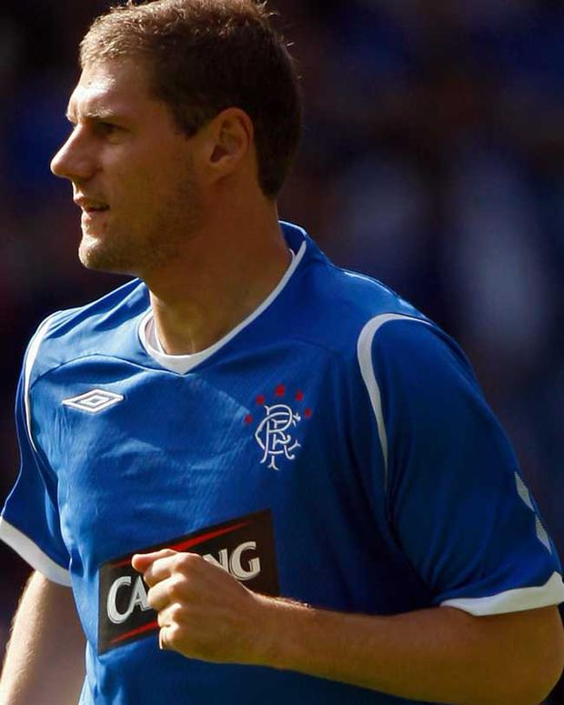 Andrius Velicka scored the winning goal for Rangers against Falkirk in the in the opening game of the SPL season
