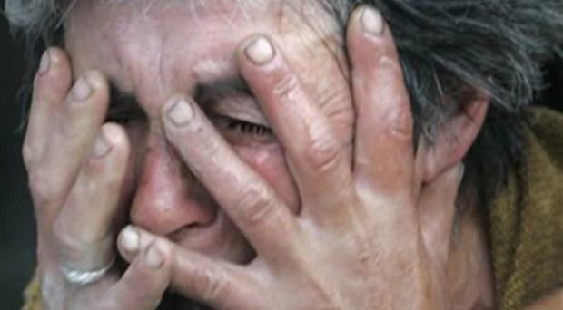 An unidentified Georgian woman cries in the town of Gori, Georgia, just outside the breakaway province of South Ossetia, Monday, Aug. 11, 2008