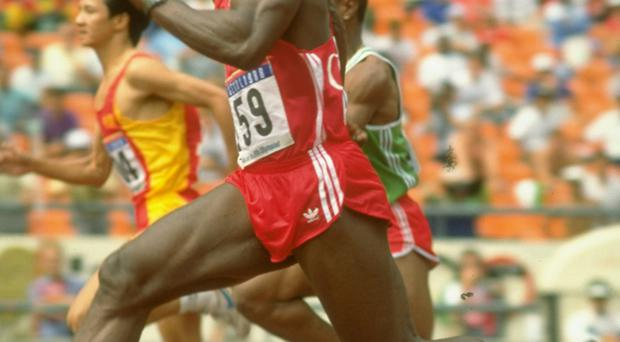 Ben Johnson of Canada striding out at the 1988 Olympic Games.