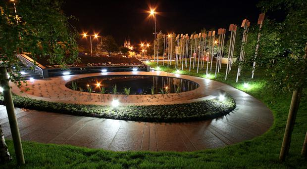 Floodlights illuminate the Omagh Memorial Garden last night following a silent tribute to the victims earlier in the day to mark the 10th anniversary of the bombing