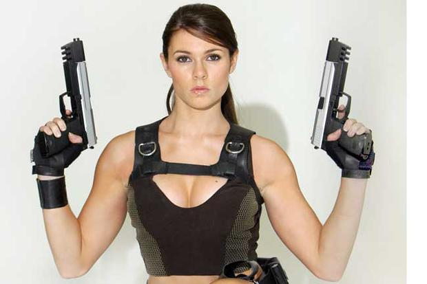 Former gymnast Alison Carroll, 23, is presented as the new face of computer game character Lara Croft at Pineapple Studios in London, England. The new Tomb Raider game 'Underworld' comes out on November 21, 2008.