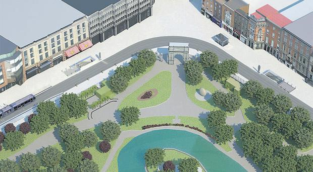An artist's impression shows how St Stephen's Green will look after the completion of the Metro North light rail system. The Fusilier's Arch at the entrance to St Stephen's Green and the Daniel O'Connell statue will have to be removed for four years during construction work.