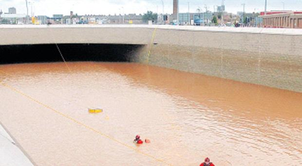 Water mess — the new Westlink underpass in Belfast had to close due to major flooding after the weekend downpour