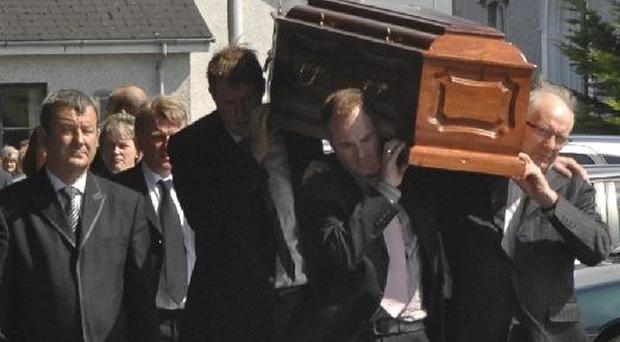 Mourners leave Aghadowey Presbyterian Church after the funeral of top showjumper Stephen Moore (45) who died after suffering a heart attack.
