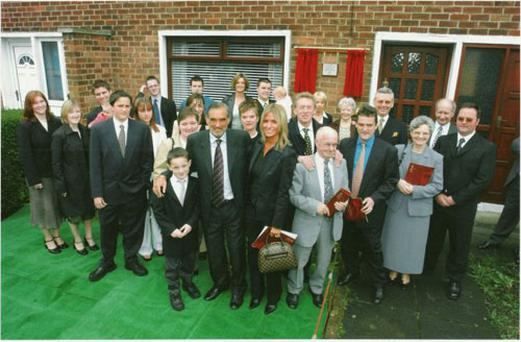 George with then wife Alex and members of his family at the unveiling of a plaque after he was awarded the Freedom of the Borough
