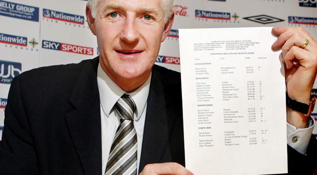 Northern Ireland manager Nigel Worthington names his squad for the for the World Cup qualifiers against Slovakia (September 6) and Czech Republic (September 10) at a press conference at the Irish FA headquarters in Belfast.