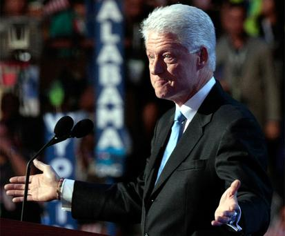 Former U.S. President Bill Clinton speaks during day three of the Democratic National Convention (DNC) at the Pepsi Center August 27, 2008 in Denver, Colorado