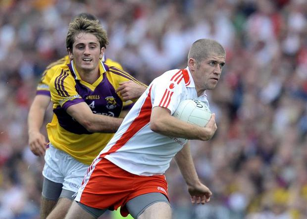 Kevin Hughes laid down an impressive marker for a place in Tyrone's starting line-up for the All Ireland League final with an all-action display from the bench in the victory over Wexford