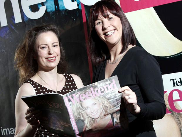 Belfast Telegraph Features Editor Gail Walker shows the magazine to Sally Smyth, Deputy Centre Manager, Victoria Square, John Keane of Ardmore Advertising, Jackie Reid and Belfast Telegraph Editor Martin Lindsay at the magazine launch