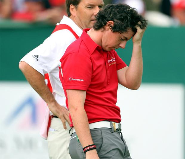 Rory McIlroy rues the missed putt on the 18th green that denied him his maiden tour victory