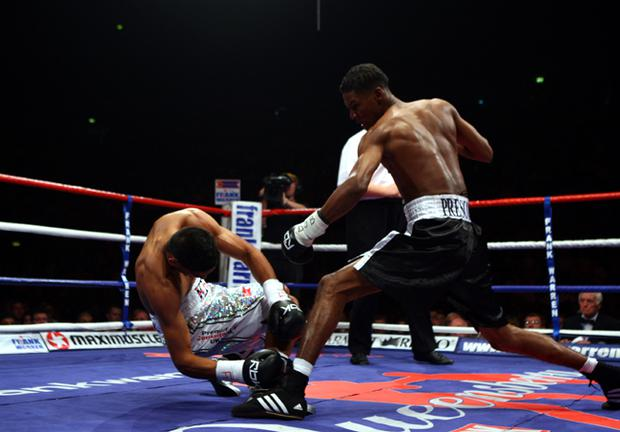 Amir Khan was knocked out in the first round by Breidis Prescott during Lightweight WBO Inter continental title fight