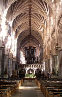 Exeter Cathedral is one of England's finest.